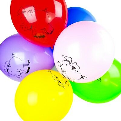 "Pack of 10 - 12"" Latex Balloons Baby Girls Boys - Farm Animals Printed Balloons"
