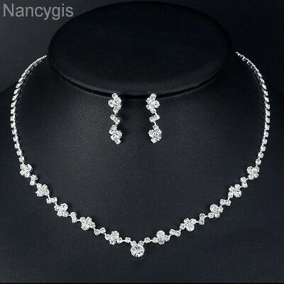 Silver Crystal Tennis Choker Necklace and Earrings Bridal Wedding Jewellery Set