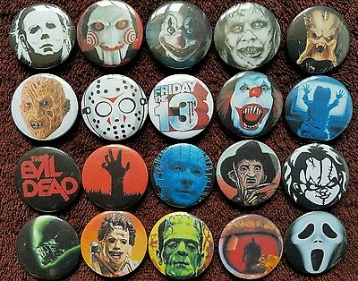 Classic Horror Movies Button Badges x 20. Halloween. Pins. Collector. Wholesale.