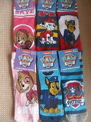 Childrens /Kids /Boys /Girls Official Paw Patrol Character Socks, 3 sizes