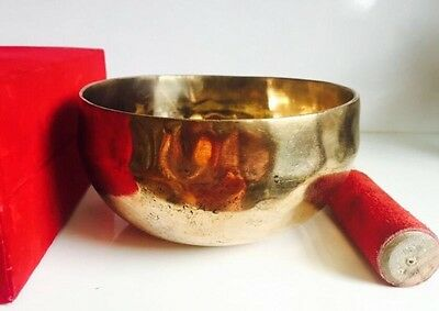 Hand Made Hammered Tibetan Singing Bowl 7 Metals Crown Chakra B Cushion Gift Box