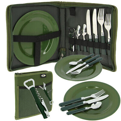 NGT Deluxe Cutlery Bag Set With 2x Plates Knife Fork Spoon Camping Fishing