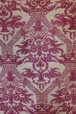 Antique French 19thC Red Silk Brocatelle Frame Home Dec Textile Fabric~Xmas
