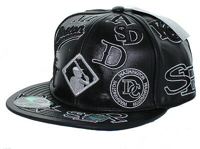 NEW! Negro League Baseball Fitted Leather Hat Embroidered Logo Cap - Black