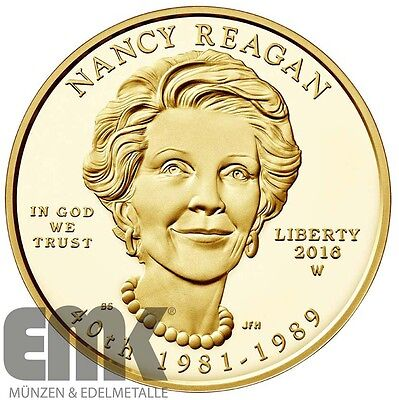 USA - 10 Dollar 2016 - Nancy Reagan - 1/2 Oz. Gold in Polierte Platte