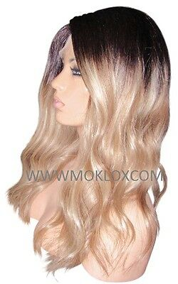 """Remy Human Hair Wig Full Lace 18"""" Long Ash Blonde Brown 3 9 60 Roots Ombre Small"""