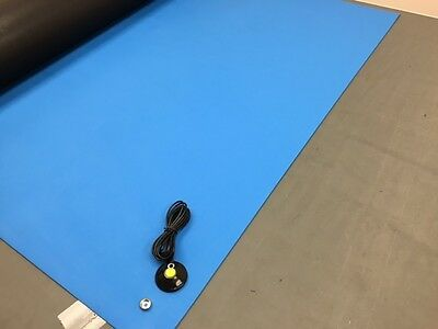 2Layer Rubber Esd Anti-Static Hi-Temp Grounding Mat- 24 X 36 W/ground Cable-Blue