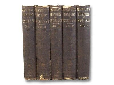 1859 Thomas Macaulay History England Complete Set Five Hardcover Volumes