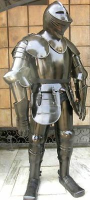 Black Antique Knight Full Suit Of Armour Armoury Halloween Costume