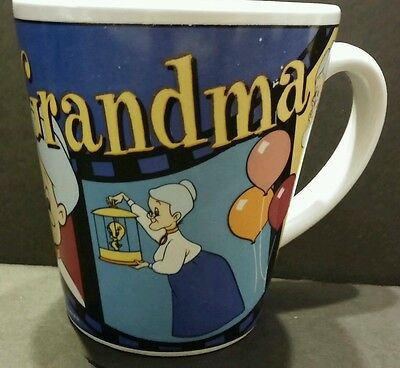 "Looney Tunes Tweety Bird and Grandma Filmstrip Coffee Mug Cup  4"" Tall 1999 EUC"