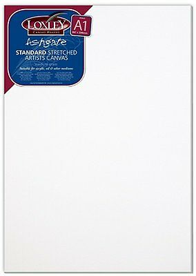 Loxley A1 size Traditional 18 mm Depth Ashgate Stretched Artists Canvas, White