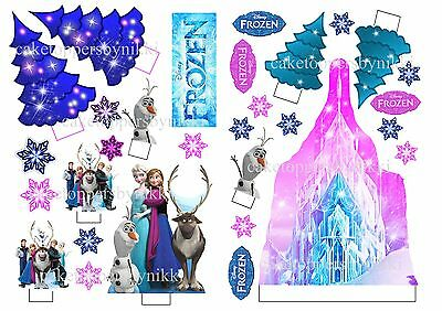 Edible Frozen Ice Castle Scene Standups Wafer Card 30pcs Uncut Cake Toppers Pink