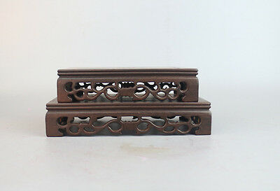 display stand pedestal China brown Ji-zhi wood carved 1 set 2PC rectangle base