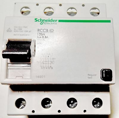 Schneider Electric 16921 Residual Current Breaker RCCB ID 4P 125А class A 0.3А