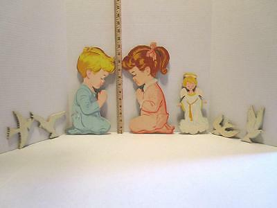 Vintage 1950's The Dolly Company Wall Art PRAYING BOY & GIRL, ANGEL, & DOVES