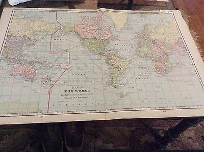 Vintage World Map, On Mercator's Projection