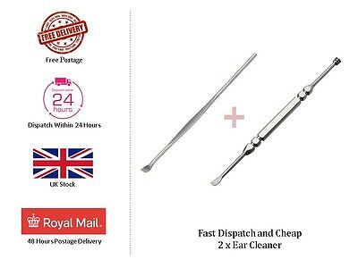 Cheap 2 x Steel Silver Ear Pick Wax Earpicks Removal Remover Cleaner Stick Tool