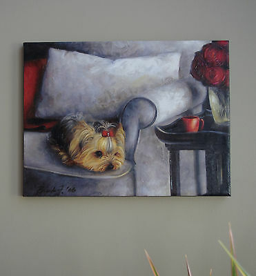 Yorkie EMBELLISHED 3D textured CANVAS PRINT of painting Brooke Faulder GICLEE