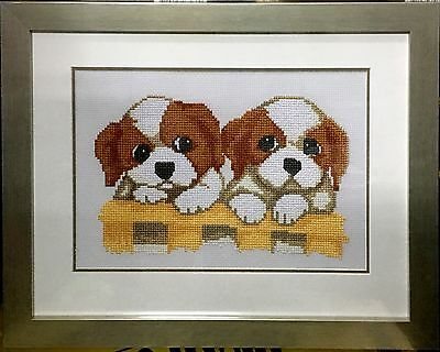"Completed Cross Stitch ""Twins Puppies""  with frame and glass cover"