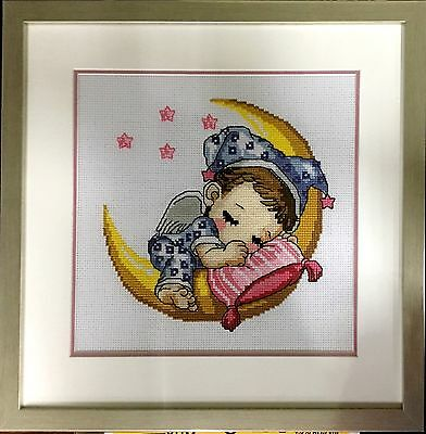 "Completed Handmade Cross Stitch ""Sleeping Baby""  with frame and glass cover"