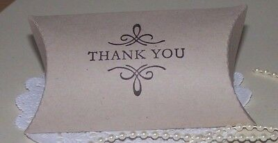Hand stamped'Thank you' Favour pillow boxes-Pk-100,