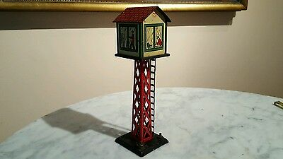 Vintage MARX TIN LITHO LIGHTED SWITCH TOWER TOY TRAIN ACCESSORY O GAUGE