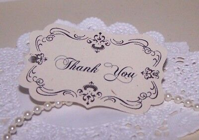 Hand stamped vintage Ivory scroll theme 'Thank you' gift tags Pk-100