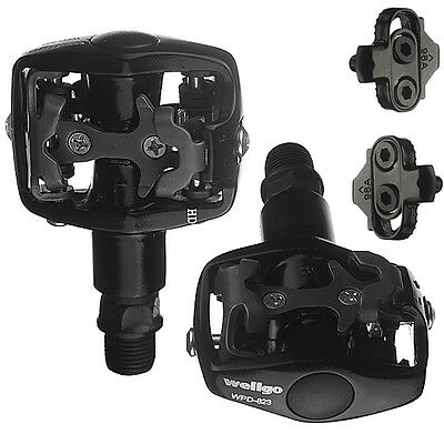 Wellgo Mountain Bike Clipless Pedals Shimano SPD With Cleats