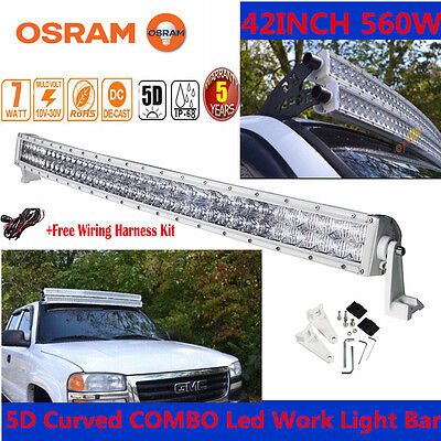 "Xmas!5D 560W 42""INCH WHITE LED Curved Combo Work Light Bar Offroad Driving CAR"