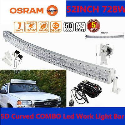 "Xmas!5D 52""inch 728W LED Curved WHITE Combo Work Light Bar Offroad  HARNESS SUV"