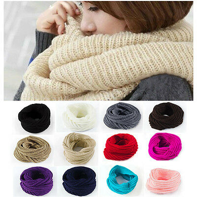 New Women Ladies Wool Knit Winter Warm Knitted Neck Circle Cowl Snood Scarf