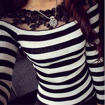 Fashion Womens Long Sleeve Shirt Casual Lace Blouse slim Cotton Tops T Shirt