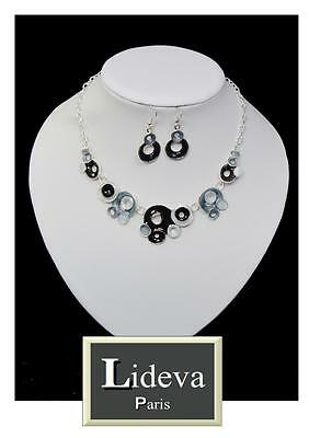 Luxus Set 2 Tlg Kette Ohrringe Schmuckset Collier Halskette Emaille Lideva Paris
