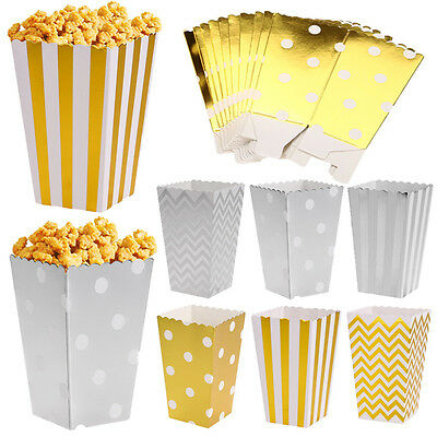 12Pcs Popcorn Candy Boxes Wedding Party Supply Dots Spot Metallic Gift Loot Bags