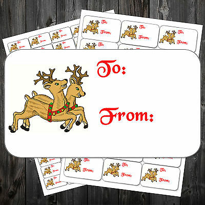 CHRISTMAS STICKY LABELS REINDEER TO FROM STICKERS WRAPPING #aho