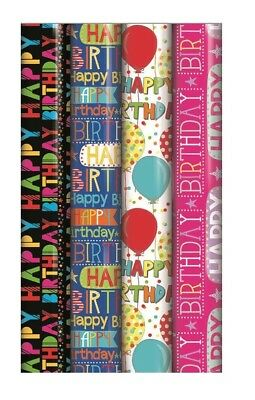 4 x Rolls Of Gift Wrap Wrapping Paper 3M x 70cm Happy Birthday Script 20583-GW