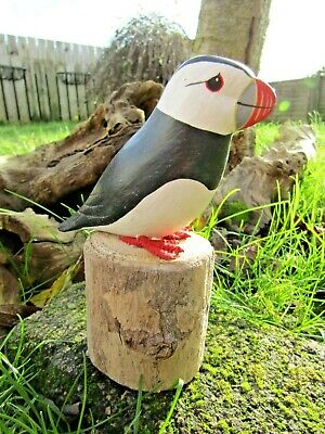 Fair Trade Hand Carved Made Wooden Puffin Garden Bird Ornament Sculpture