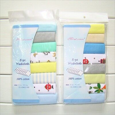 New 8pcs 100%Cotton Baby Bulk Pack Wash Cloth Washers Face Hand Towels Wipe Gift