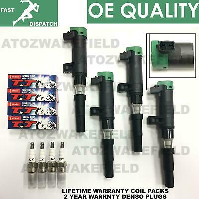For Renault 1.4 1.6 1.8 2.0 x4 Ignition Pencil Coils Pack Denso Spark plugs Kit