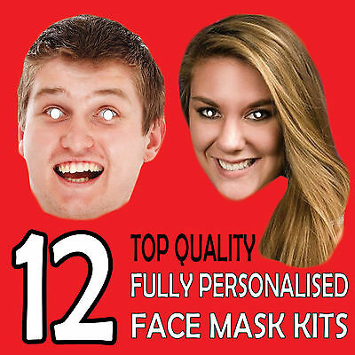 12 PERSONALISED CUSTOM FACE MASK KITS SEND A PICTURE PHOTO AND WE WILL PRINT ! x