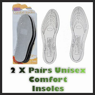 2 Pairs Unisex Comfort Insoles Replace Worn Uncomfortable Insoles Cut To Size Uk