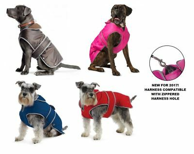 Ancol Muddy Paws Stormguard Fleece Lined Harness Compatible Dog Jacket Rain Coat