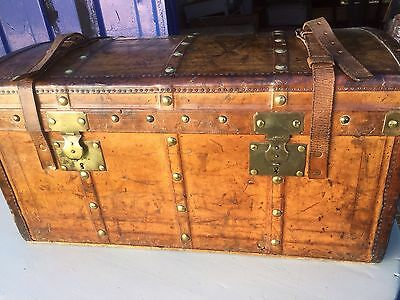 French Leather Domed Antique Chest