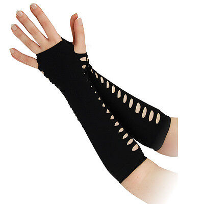 """Ladies 10"""" Gloves With #side Holes Ladder Style Gothic Punk Fancy Dress"""