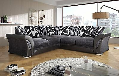 New Farrow Leather & Chenille Fabric Corner Sofa In Black Grey Brown Beige