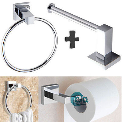 Modern Chrome Square Bathroom Toilet Roll Holder & Towel Ring Set with Fittings