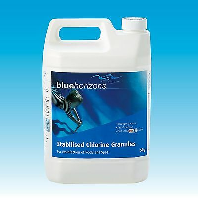 Blue Horizons Stabilised 5kg Chlorine Granules Swimming Pool & Spa Chemicals