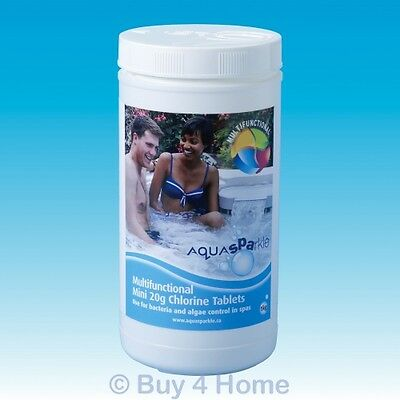 Aquasparkle 1kg Multifunctional Mini 20g Chlorine Tablets Hot Tub Spa Chemicals