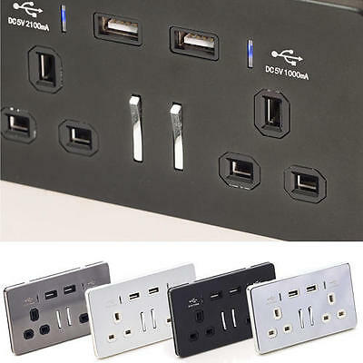 USB 2 Way UK Charging 3.1A USB Plug Socket Wall Connection Plate Phone Charger