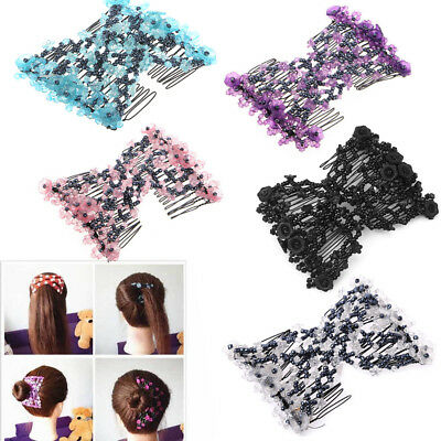 Double Hair Comb Magic Beads Elasticity Clip Stretchy Hair Combs Clips Fashion